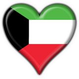 Kuwait button flag heart shape Royalty Free Stock Images
