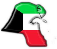 Kuwait button flag map shape Stock Image