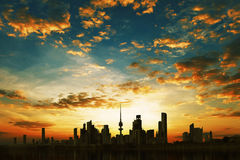 Kuwait City. During amazing sunset Stock Images
