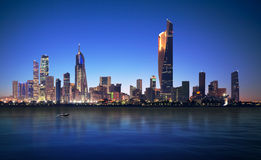 Kuwait city. Blue hour view with amazing bright city Stock Photo