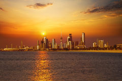 Kuwait City. Scape during the sunrise stock images