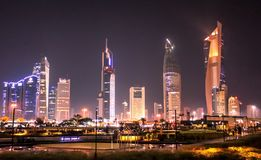 Kuwait City At Night. KUWAIT - DECEMBER 30, 2016, - Kuwait City buildings at night on December 30, 2016, in Kuwait royalty free stock images