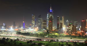 Kuwait City at night stock footage