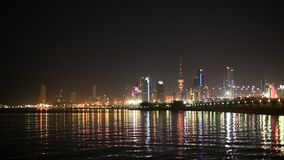 Kuwait City at night stock video footage