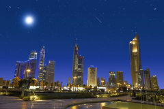 Kuwait city. Night view with stars on the sky stock photos