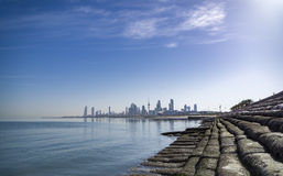 Kuwait city sky scrapper. From shuwaikh port Royalty Free Stock Images
