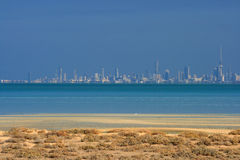 Kuwait: City skyline. Kuwait city skyline seen across the Kuwait bay on a crispy cold winter day with great visibility of more than 40 kilometers Royalty Free Stock Photo