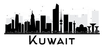 Kuwait City skyline black and white silhouette. Royalty Free Stock Photo