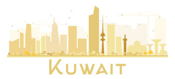 Kuwait City skyline golden silhouette. Royalty Free Stock Photos