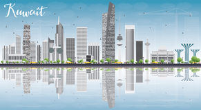 Kuwait City Skyline with Gray Buildings, Blue Sky and Reflection Royalty Free Stock Images