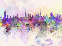 Kuwait City Skyline In Watercolor Background Royalty Free Stock Photo