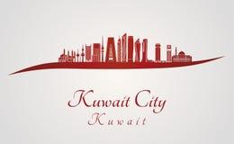 Kuwait City V2 horisont i rött royaltyfri illustrationer
