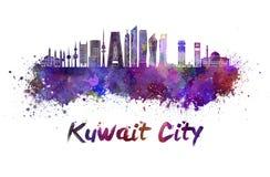 Kuwait City V2 horisont i vattenfärg vektor illustrationer