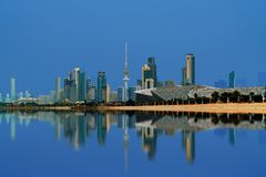 Kuwait city view during sunset royalty free stock image
