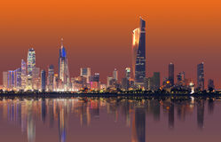 Kuwait cityscape skyline. During night time Royalty Free Stock Photo