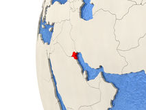Kuwait on 3D globe. Map of Kuwait on globe with watery blue oceans and landmass with visible country borders. 3D illustration Stock Image