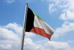 Kuwait Flag with Clouds Stock Images