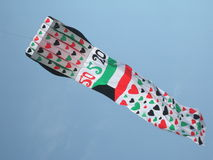 Kuwait flag kite with harts Royalty Free Stock Photography