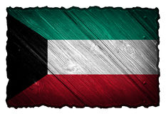 Kuwait flag. Painted on wooden tag Royalty Free Stock Photography