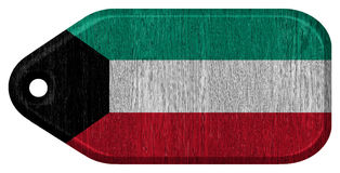 Kuwait flag. Painted on wooden tag Royalty Free Stock Image