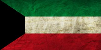Kuwait Flag on Paper. Flag on an old Paper Texture Royalty Free Stock Images