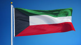 Kuwait flag in slow motion seamlessly looped with alpha stock video footage