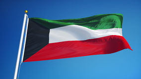 Kuwait flag in slow motion seamlessly looped with alpha stock footage