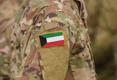 Kuwait flag on soldiers arm collage.  royalty free stock images