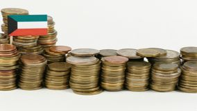 Kuwait flag with stack of money coins. Kuwait flag waving with stack of money coins stock footage