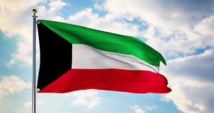 Kuwait flag waving in the wind shows Kuwaiti symbol of patriotism - 4k 3d render. Kuwait flag waving in the wind shows Kuwaiti symbol of patriotism. Flagpole stock footage