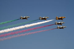Kuwait flage by airforce. Kuwait army airforce paint kuwait flag in the sky Stock Image