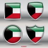 Kuwait-Flagge in der Sammlung mit 4 Formen mit Beschneidungspfad Lizenzfreie Stockfotografie
