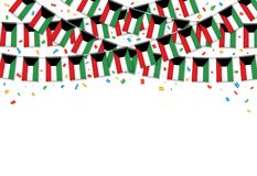 Kuwait flags garland white background with confetti. Hanging bunting for Malaysia National Day celebration template banner, Vector illustration Stock Images