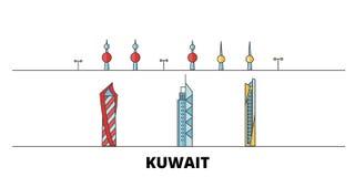 Kuwait, Kuwait flat landmarks vector illustration. Kuwait, Kuwait line city with famous travel sights, skyline, design. Kuwait, Kuwait flat landmarks vector vector illustration