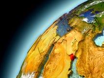 Kuwait från omlopp av modellen Earth Arkivbilder