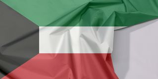 Kuwait-Gewebeflaggenkrepp und -falte mit Leerraum stockfoto