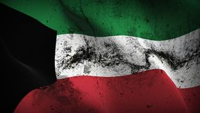 Kuwait grunge dirty flag waving on wind. Kuwaiti background fullscreen grease flag blowing on wind. Realistic filth fabric texture on windy day Stock Image
