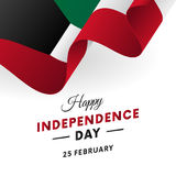 Kuwait Independence Day. 25 February. Waving flag. Vector. Royalty Free Stock Image