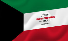 Kuwait Independence Day. 25 February. Waving flag. Vector. Royalty Free Stock Photography