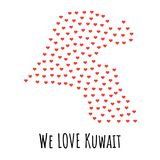 Kuwait Map with red hearts - symbol of love. abstract background. Kuwait Map with red hearts- symbol of love. abstract background with text We Love Kuwait Royalty Free Stock Image