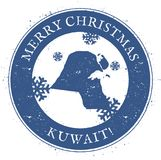 Kuwait map. Vintage Merry Christmas Kuwait Stamp. Stylised rubber stamp with county map and Merry Christmas text, vector illustration Royalty Free Stock Photo
