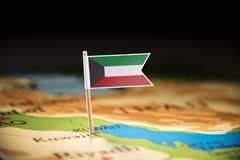 Kuwait marked with a flag on the map.  stock photography