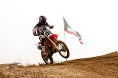 Kuwait motorcross with the Kuwait flag Stock Photos