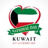 Kuwait national day 25 February, heart emblem colored. Happy National Day Kuwait web banner, national flag in heart poster vector illustration