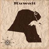 Kuwait old map with grunge and crumpled paper. Vector illustration Stock Image