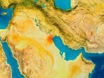 Kuwait on physical map Stock Photos