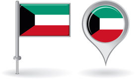 Kuwait pin icon and map pointer flag. Vector Stock Images