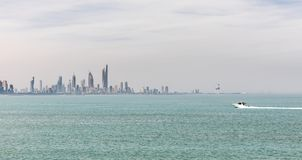 Kuwait`s coastline and skyline. KUWAIT CITY, KUWAIT - 19 Mar 2018: Kuwait`s coastline and skyline stock photos