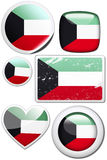 Kuwait - Set of stickers and buttons. Glossy and colorful stickers with reflection set Royalty Free Stock Images