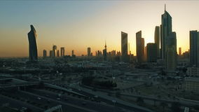 Kuwait skyline at sunset. Some famous places in Kuwait shooting from the sky stock video footage